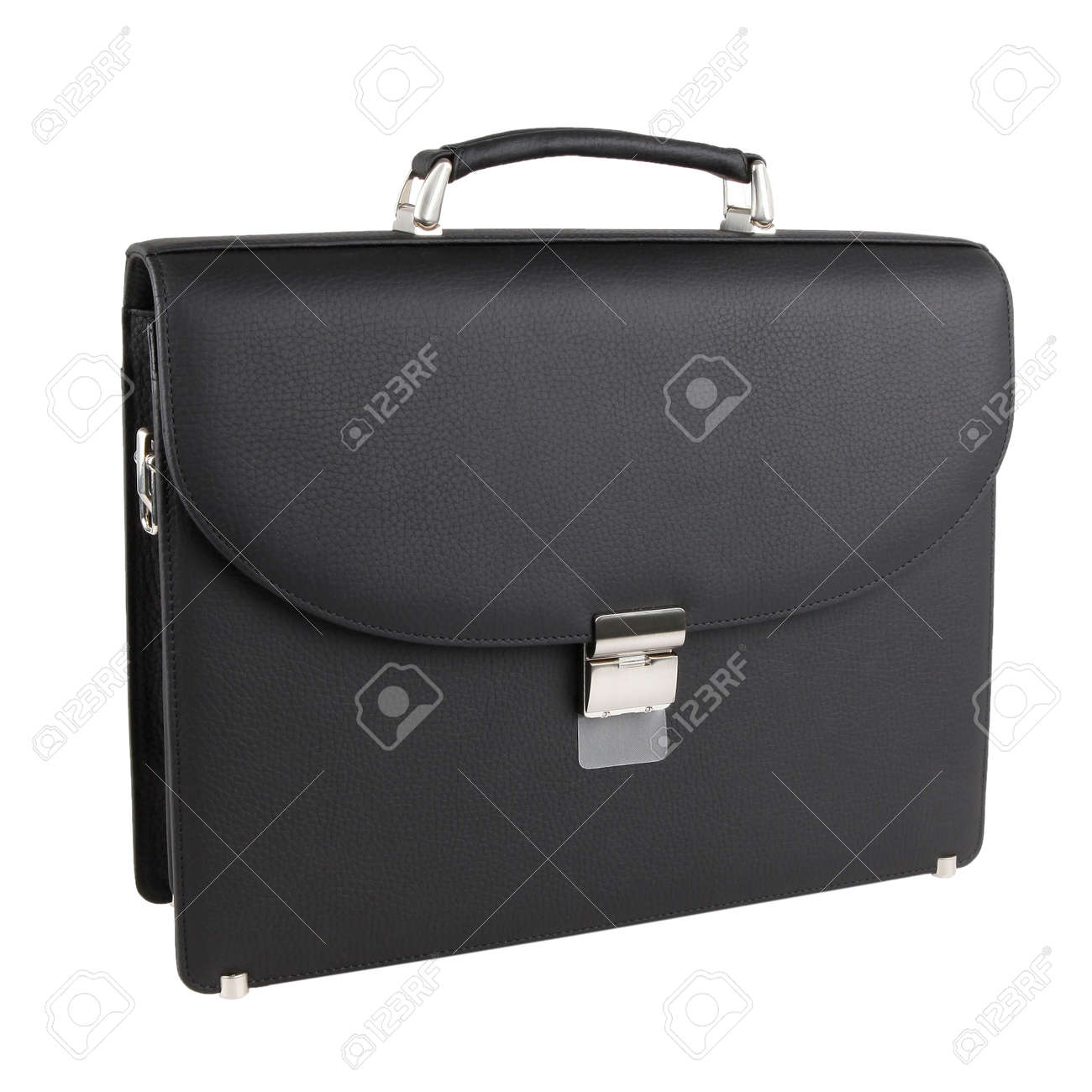 New fashion male business bag or briefcase in black leather. Without shadows. Isolated on white background - 135069683