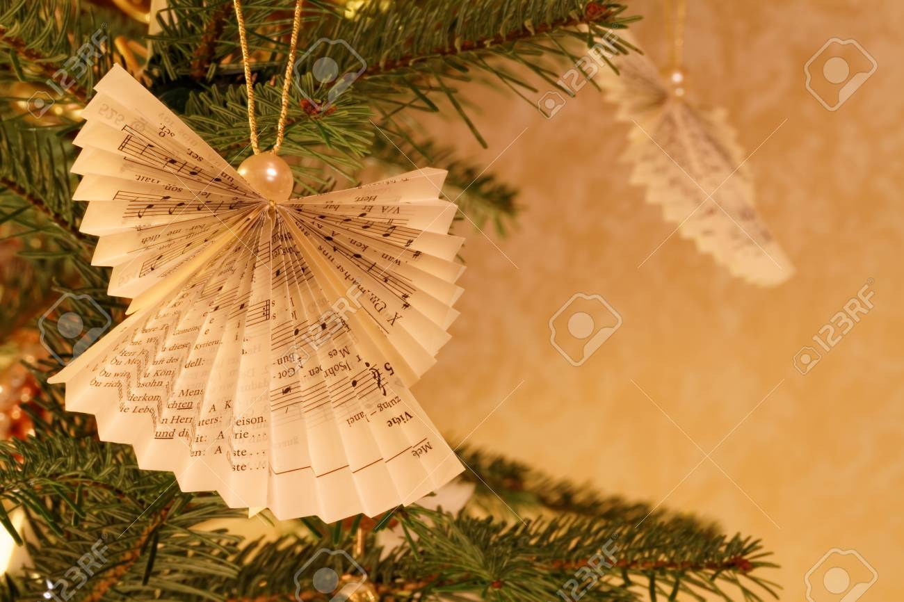 Angel Ornaments For Christmas Tree.Christmas Tree With Paper Impression Made Angel Ornaments