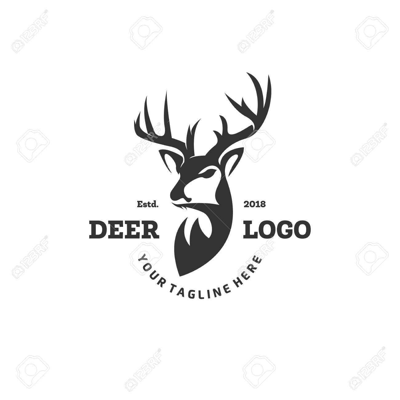 Hunting Club Logo Template. Deer Head and Horns Silhouette Isolated On White Background. Vector object for Labels, Badges, Logos and other Design. Deer Logo, Hunter Logo, Deer Hunting, Retro logo - 118504504