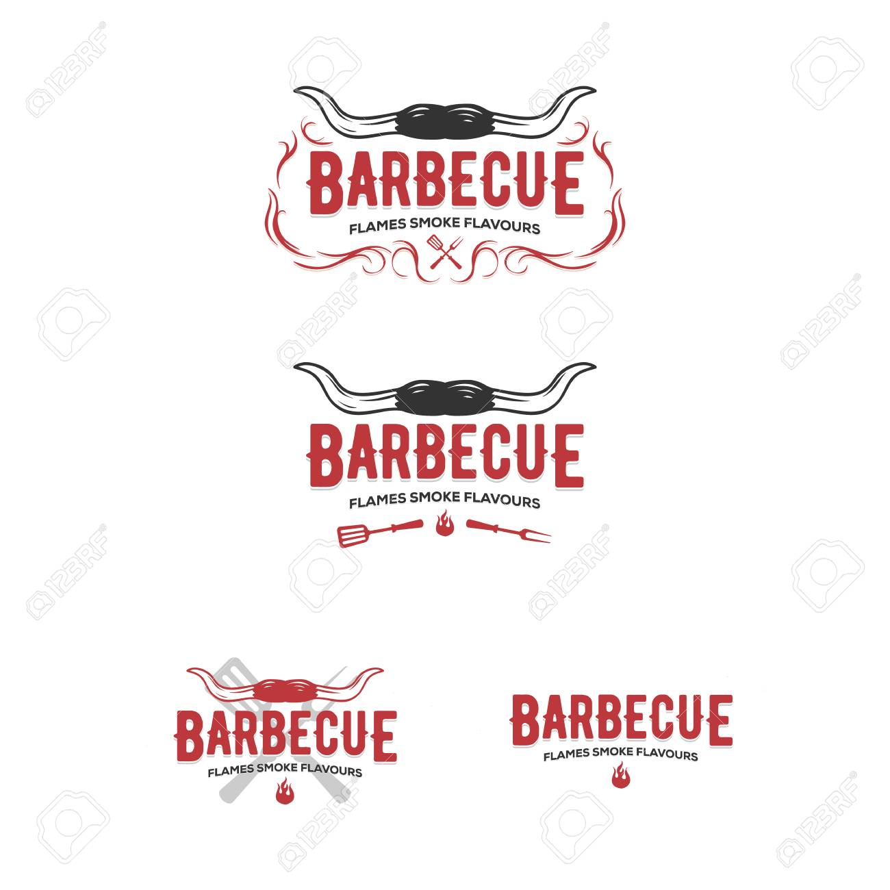 Set of grill and barbecue badges, stickers, emblems - 121092504