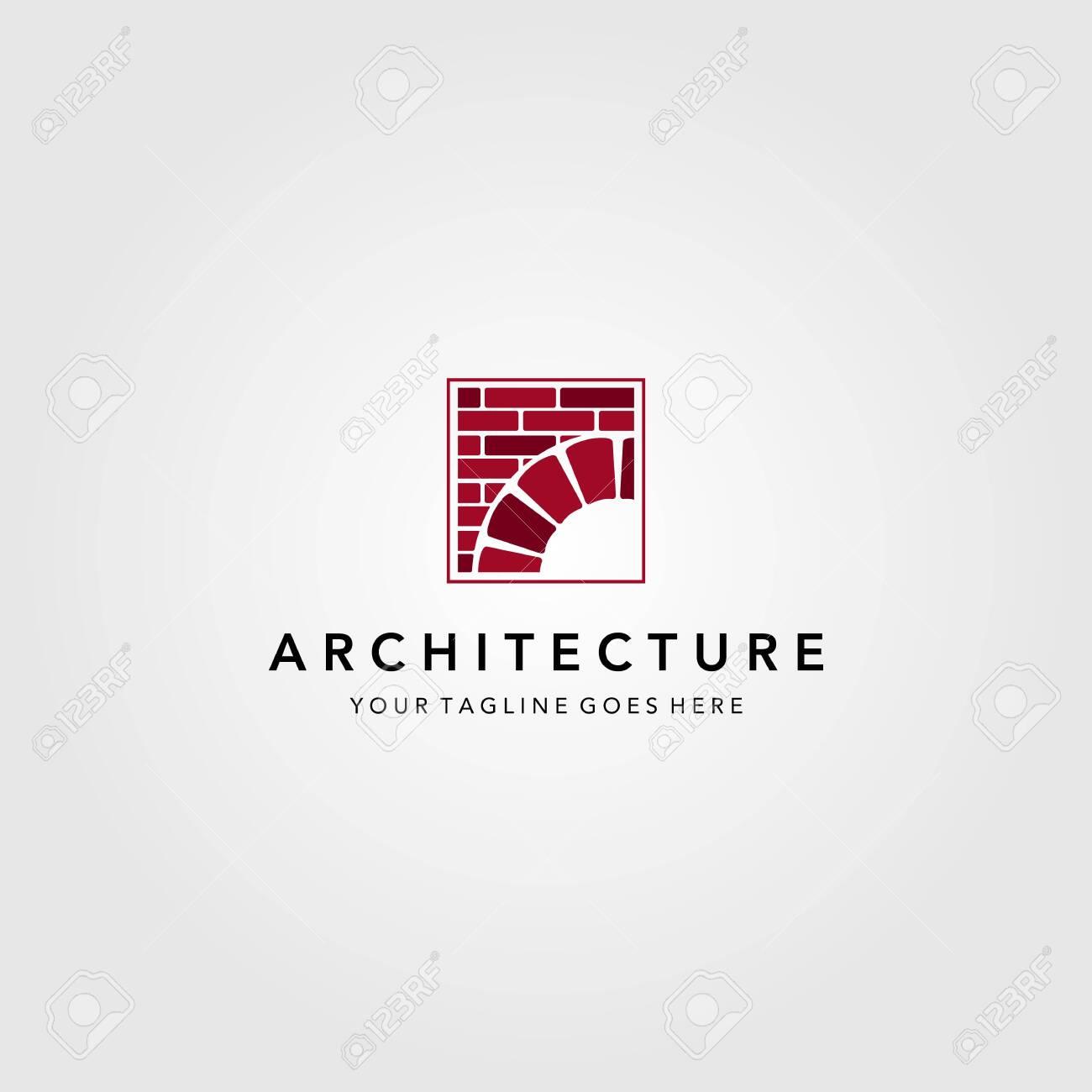 vintage bridge logo construction brick vector emblem illustration design - 146209474