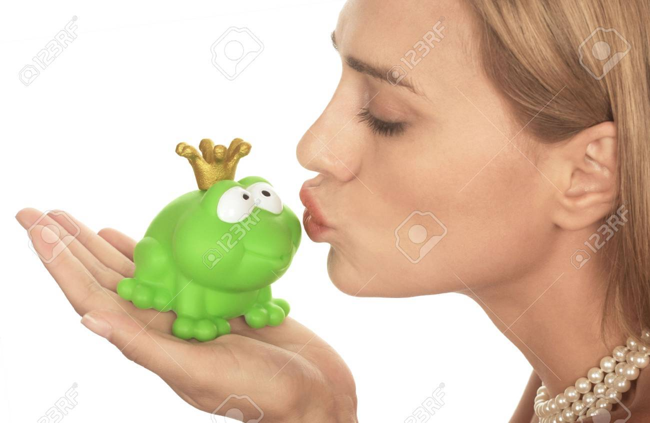 Frog Price Being Kissed By A Beautiful Glamour Model Isolated On White  Stock Photo 3766210 Frog