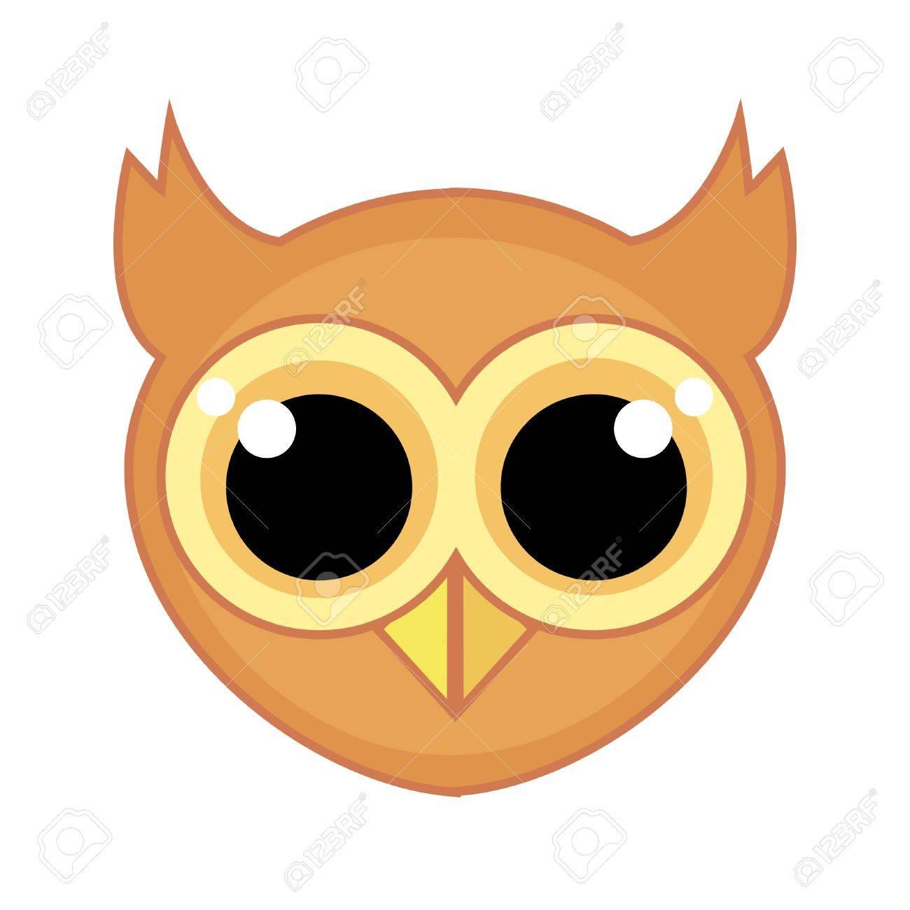 Icono De Dibujos Animados De Una Cara De Búho Con Ojos Grandes Y Amables Y Un Contorno Aislado Sobre Fondo Blanco