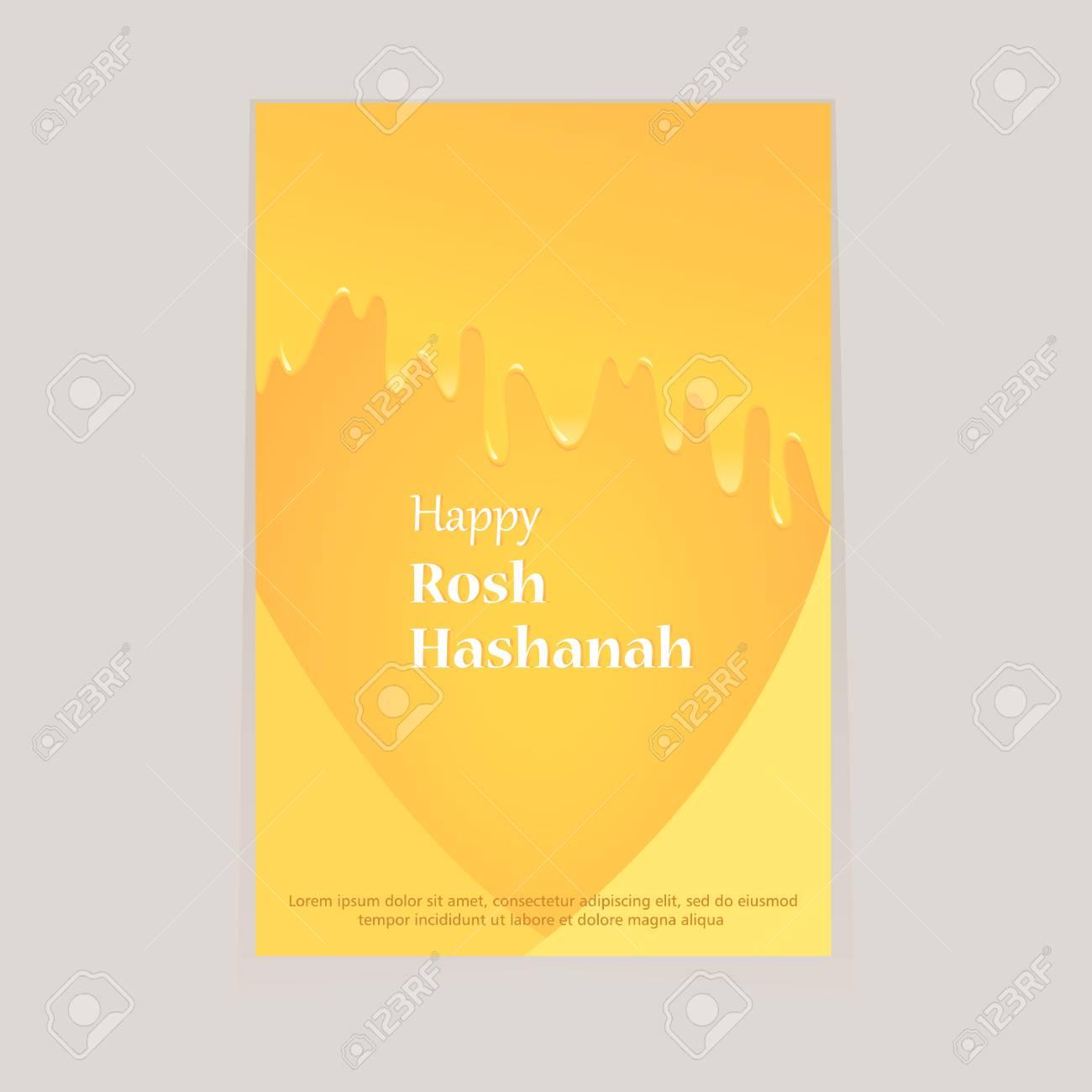 Greeting Card For Rosh Hashanah Day Tasty Honey Draining From