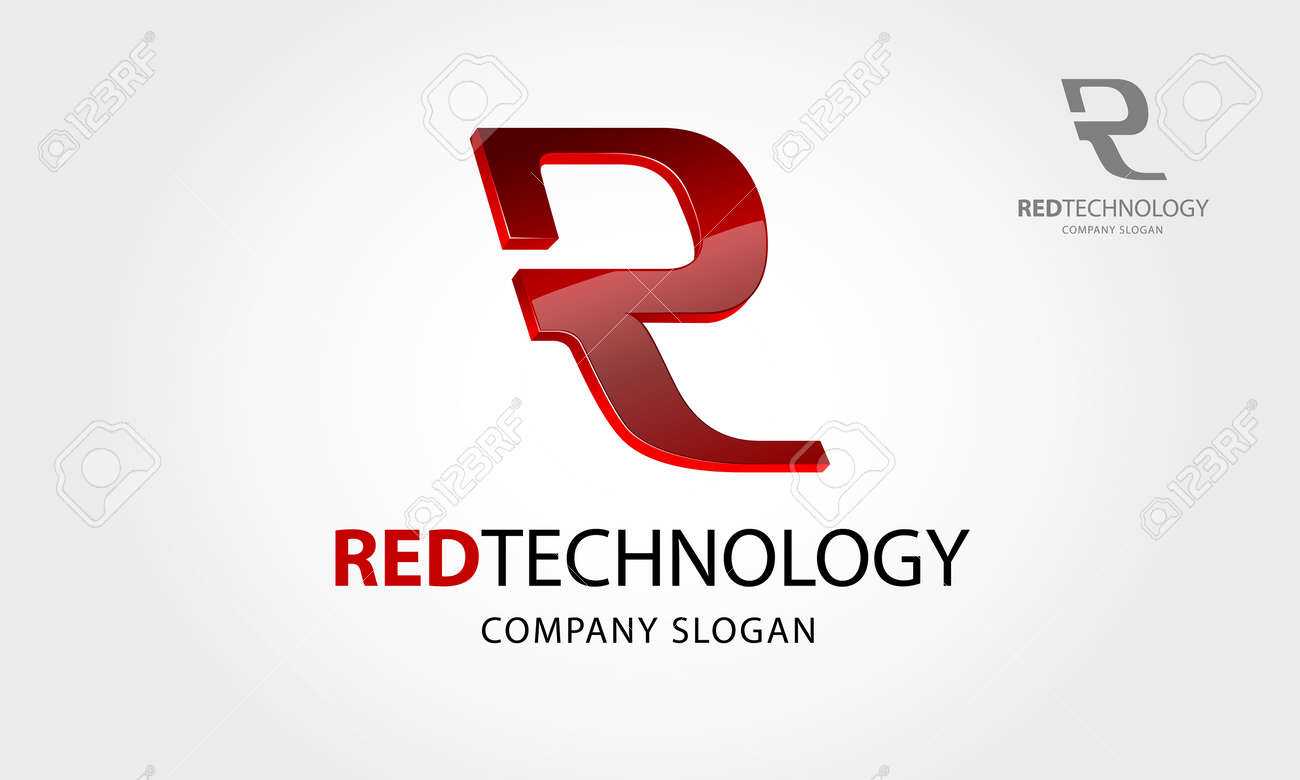 Red Technology Vector Logo. This logo letter of R or it's an initial logo, it's a 3 D vector logo with shiny effect, try to symbolize a high technology, advance technology, smart, and modernity. - 145199719