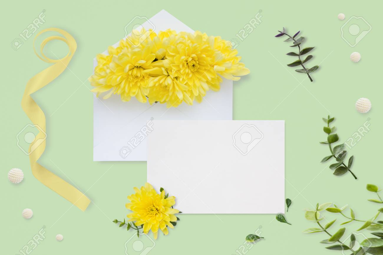 letter envelope and a present on pastel green background wedding invitation cards or love