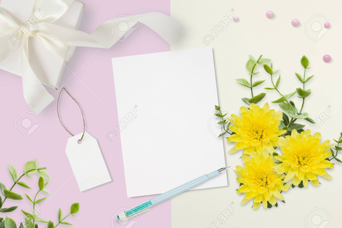 letter envelope and a present on pink gray background wedding invitation cards or love
