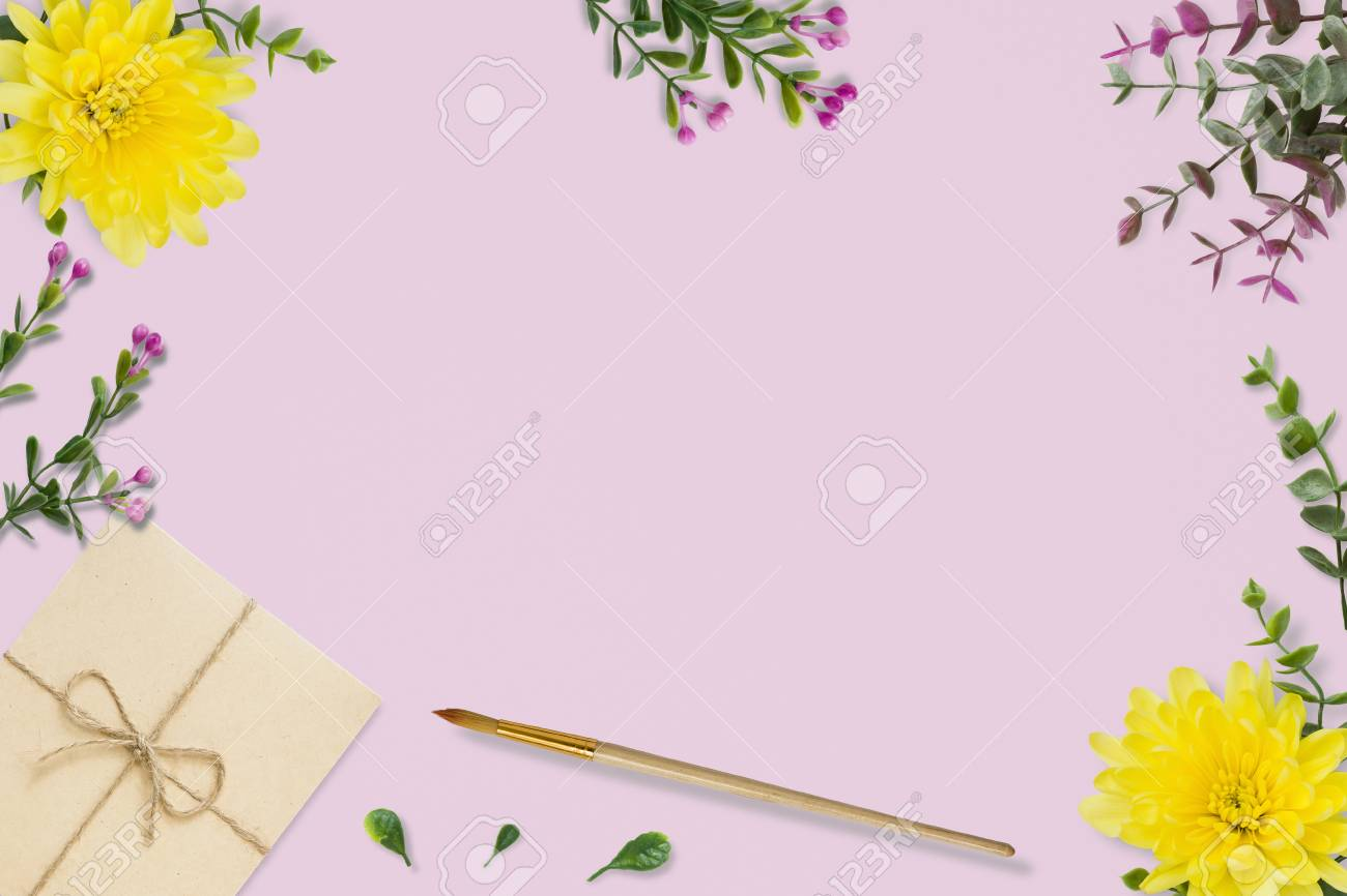 letter envelope on pink background wedding invitation cards or love letter with chrysanthemums
