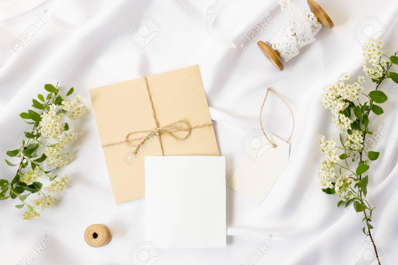 Flat Lay Workspace Mockup Wedding Invitation Cards Craft