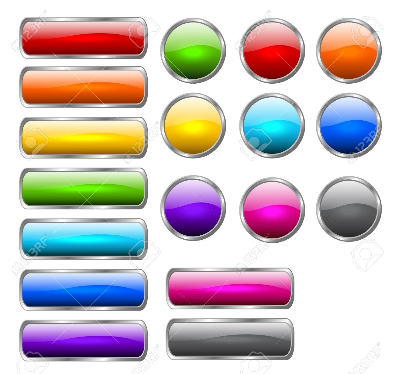 Set of colored buttons in the shapes of rounded rectangle and circle Stock Vector - 12495912