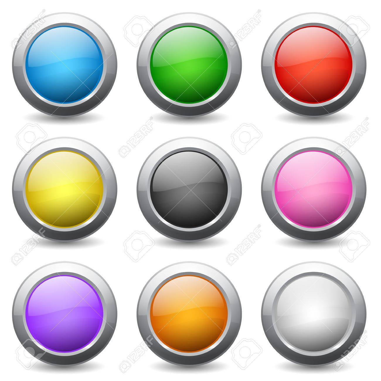 Set of colored round buttons with wavy reflections Stock Vector - 15076984