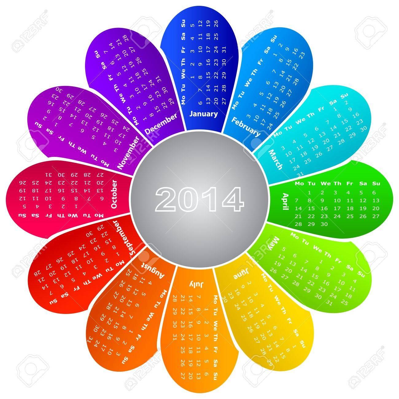 2014 calendar on rainbow flower background Stock Vector - 18381142