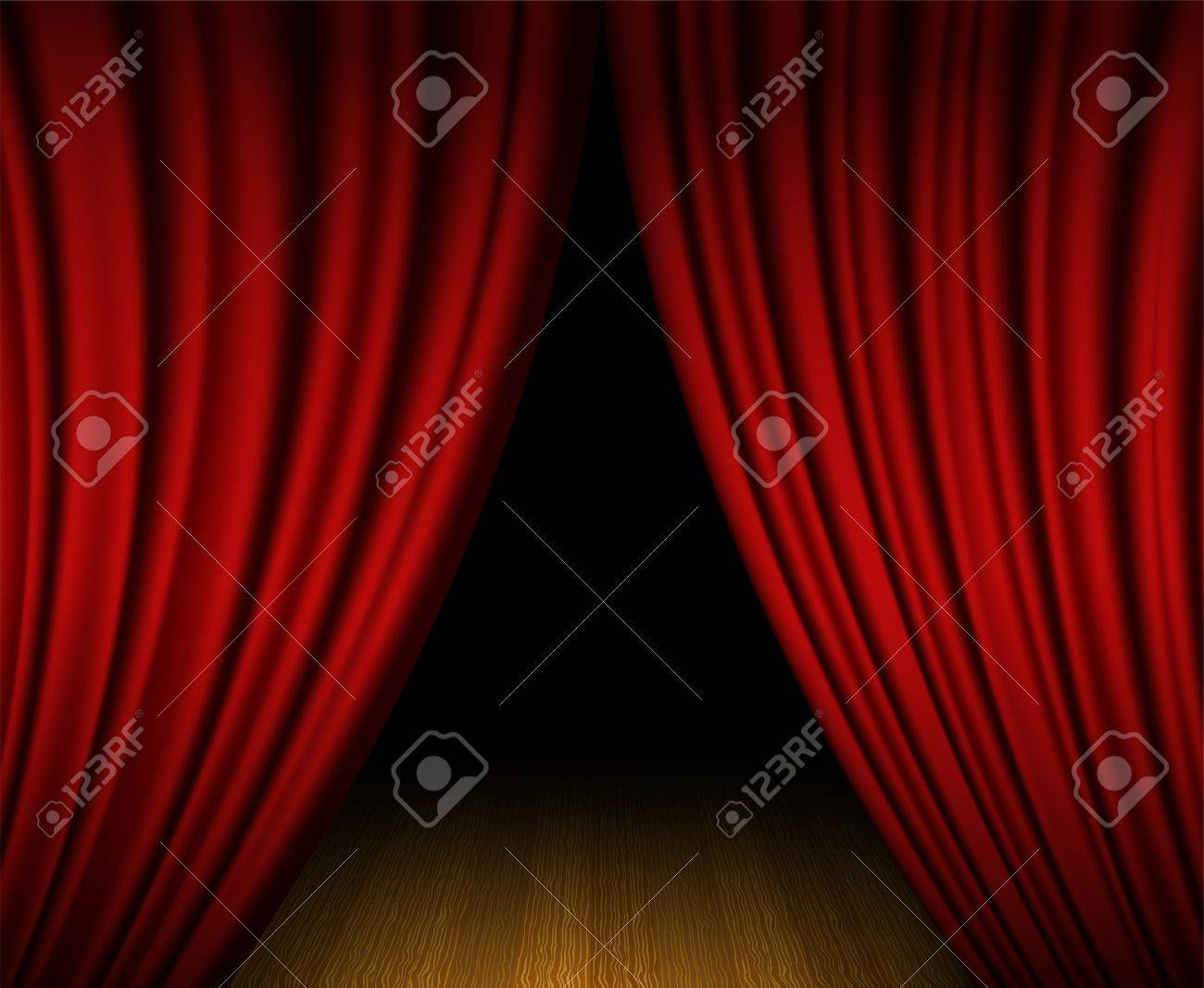 Real open stage curtains - Real Open Stage Curtains Red Open Curtain On Wooden Stage Stock Vector 20240756