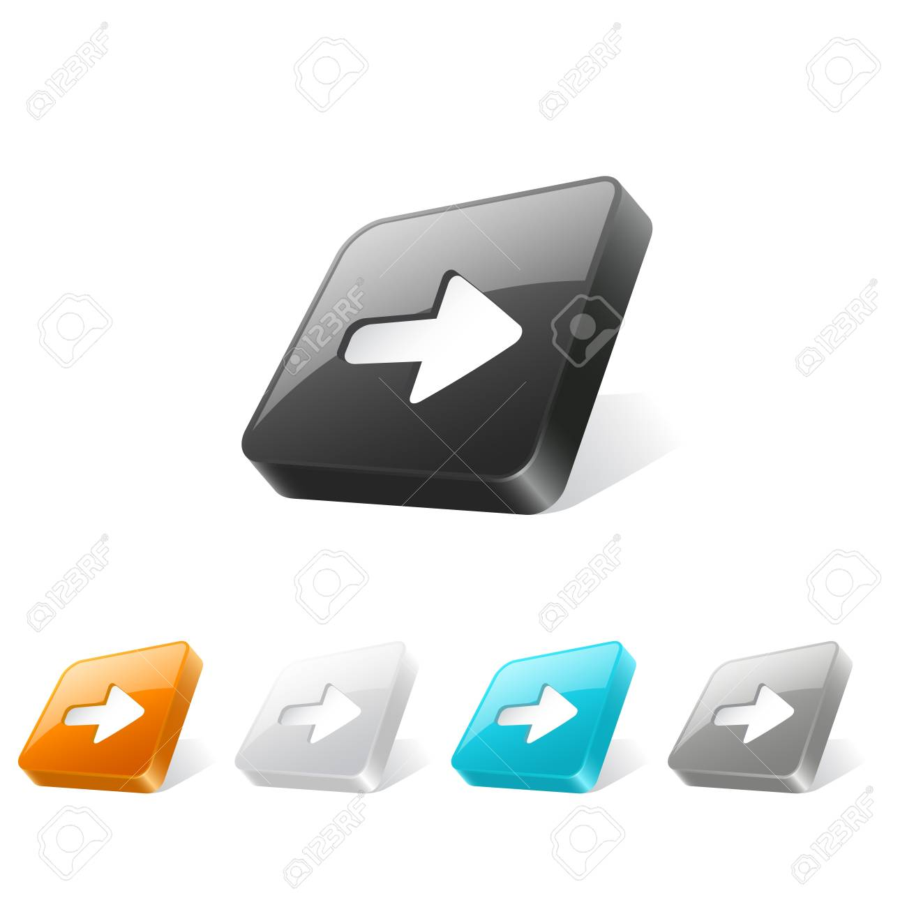Set of arrow icons on 3d square buttons in different colors Stock Vector - 20709255