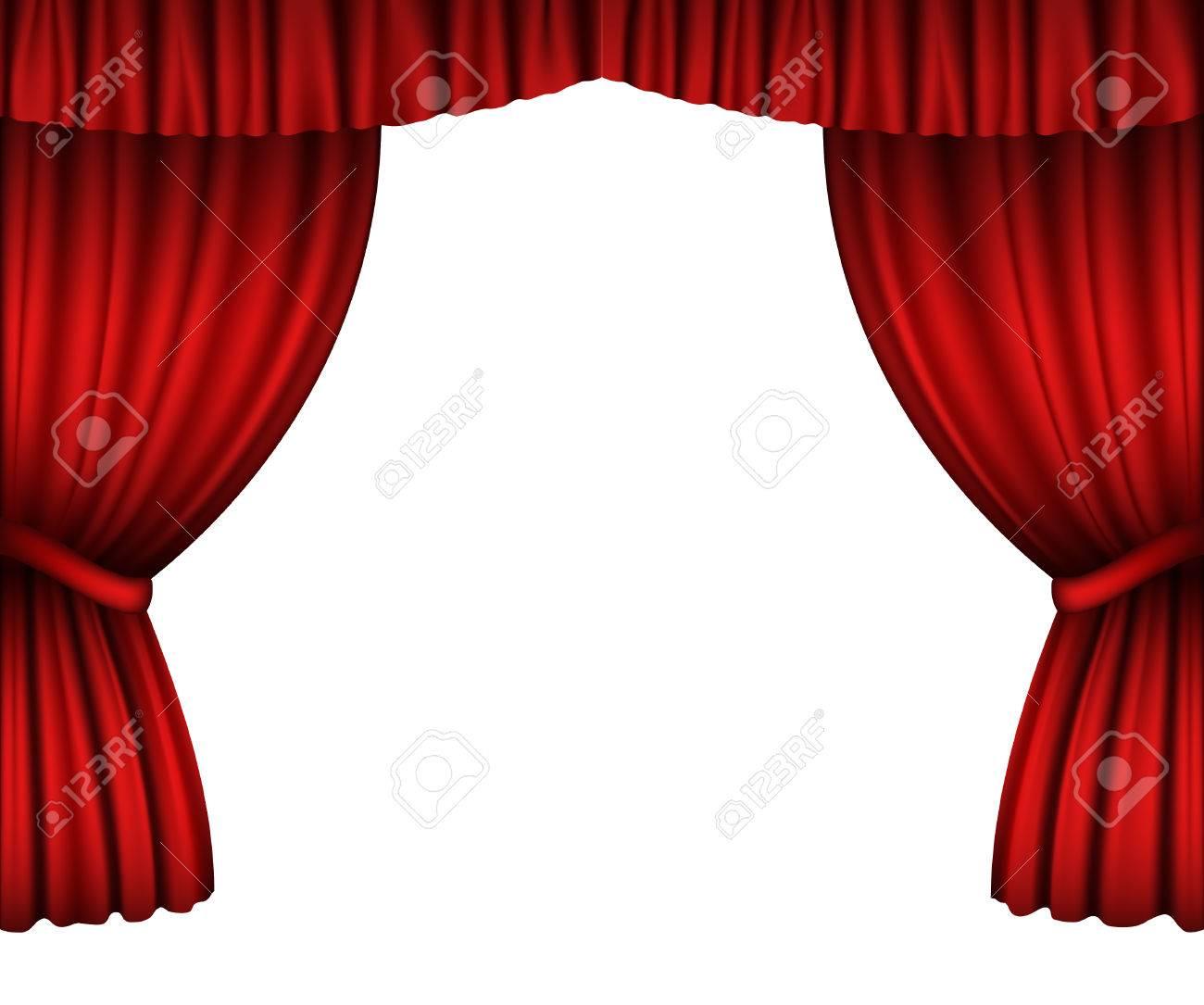 rode gordijnen open op wit wordt gesoleerd stockfoto 36984523