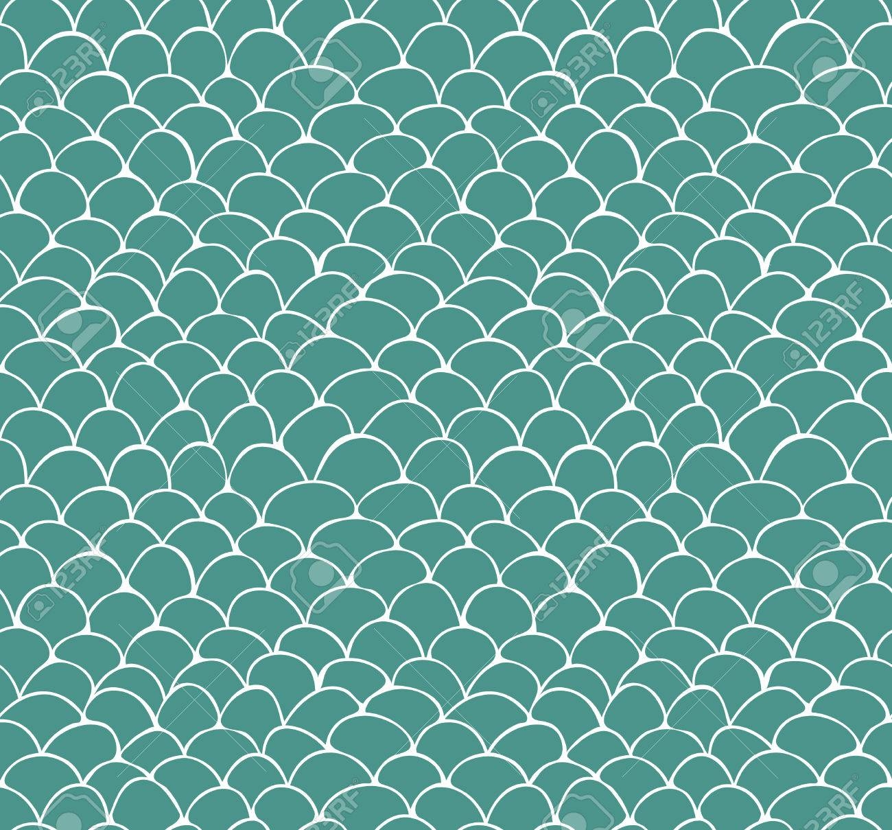 Seamless pattern of hand drawn white scale pattern on green background - 47986490