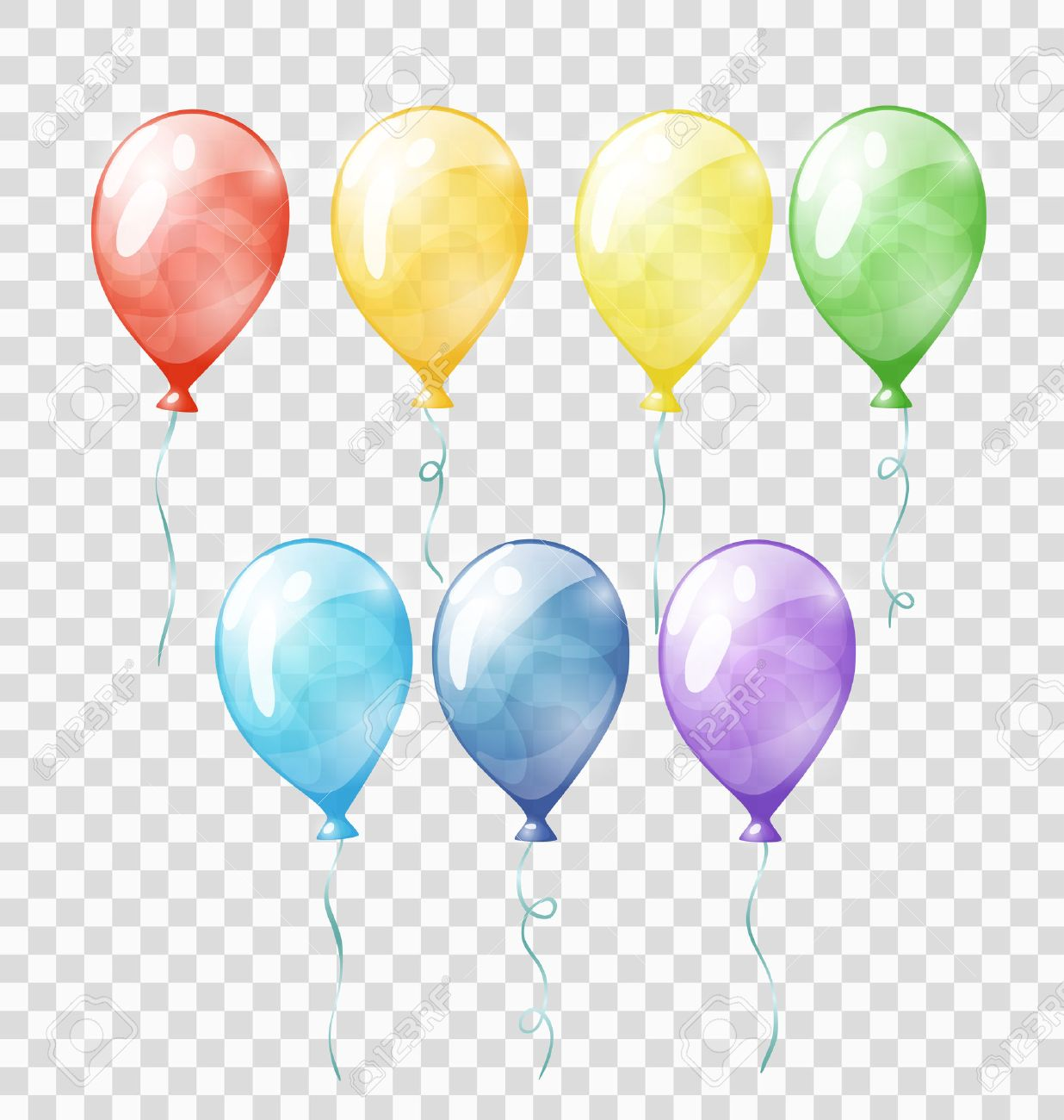 Set of colored transparent balloons on the chequered background - 52028841