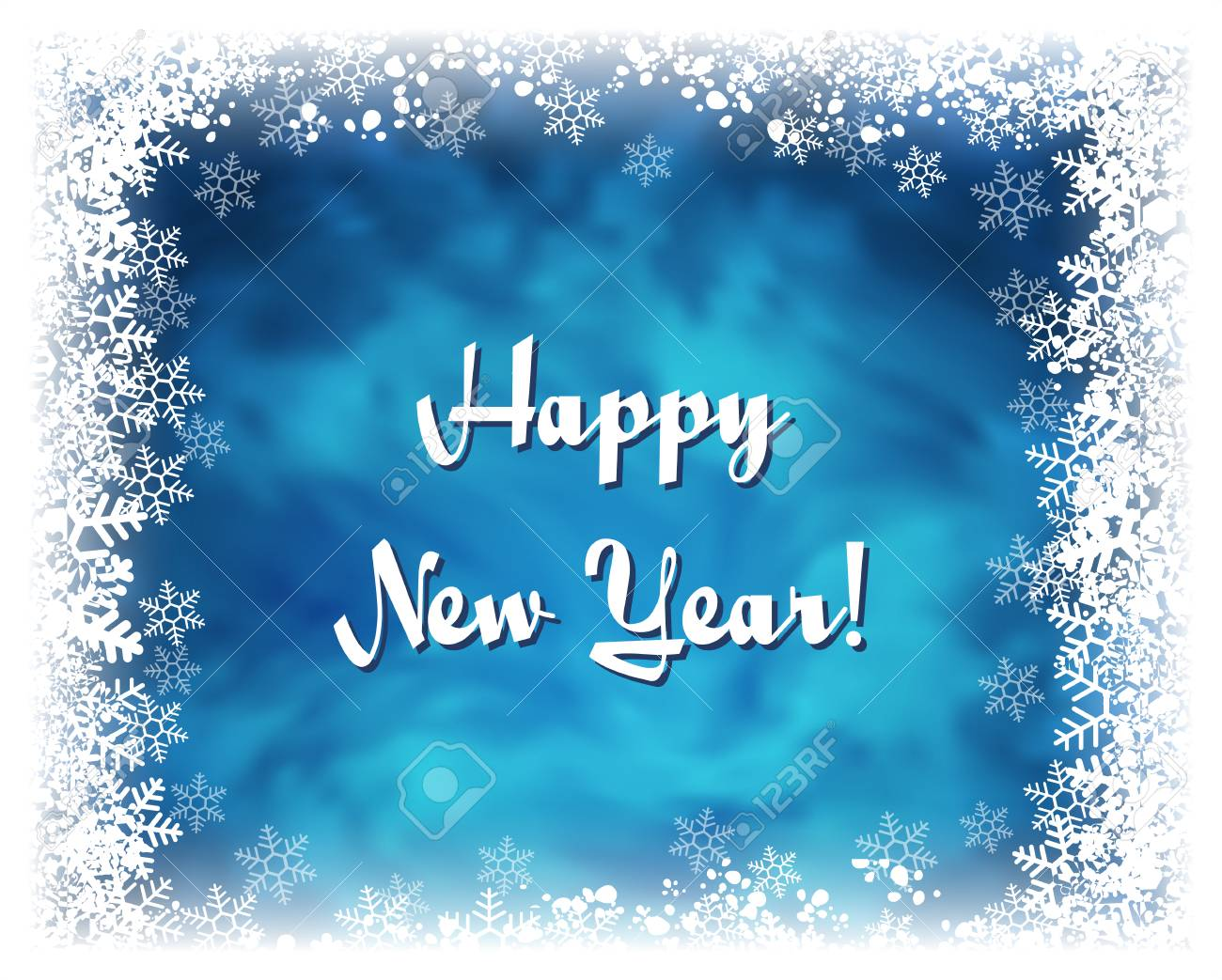 happy new year greeting card vector textured blue background with frame of white snowflakes
