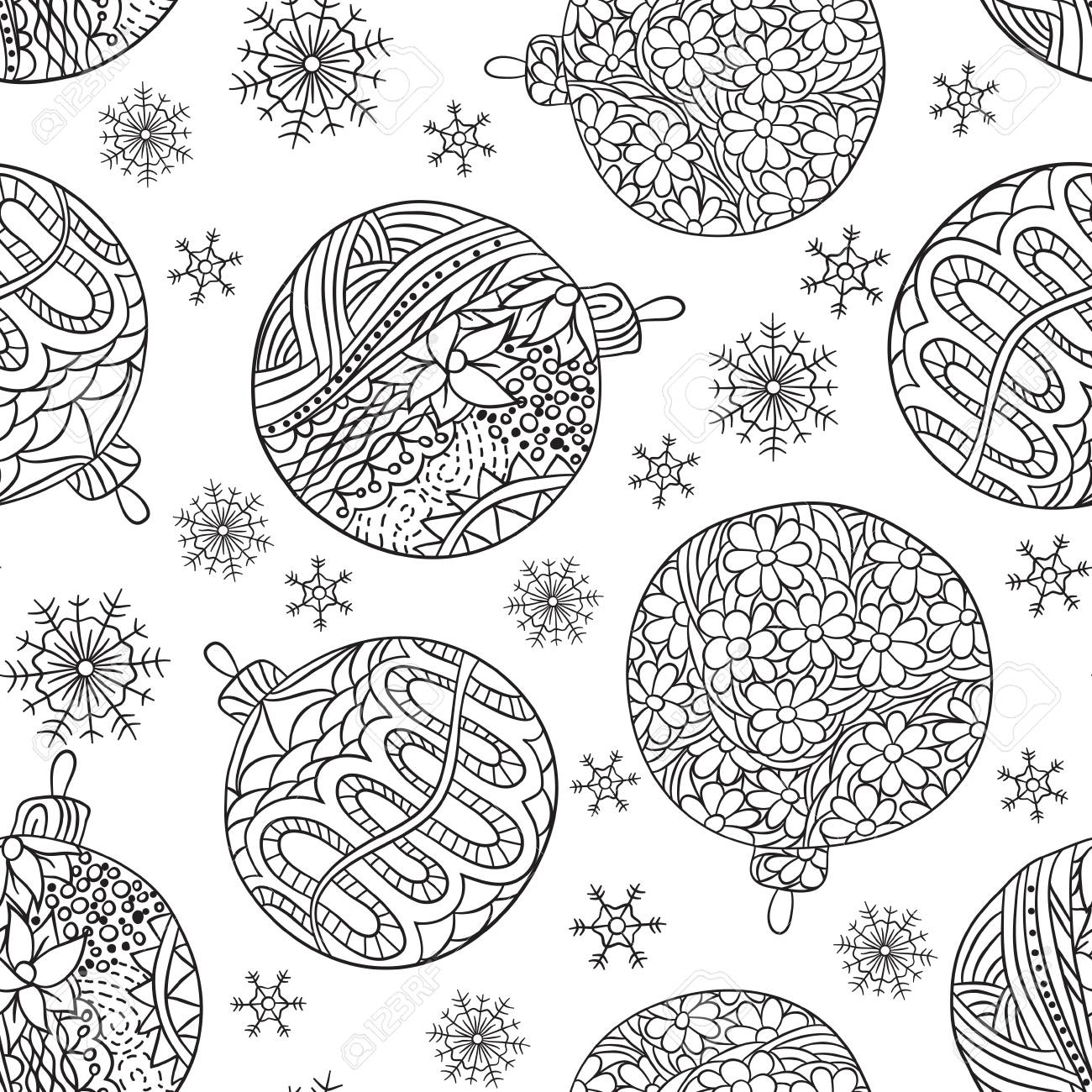 new year seamless pattern with black outline drawn christmas balls and snowflakes christmas coloring book