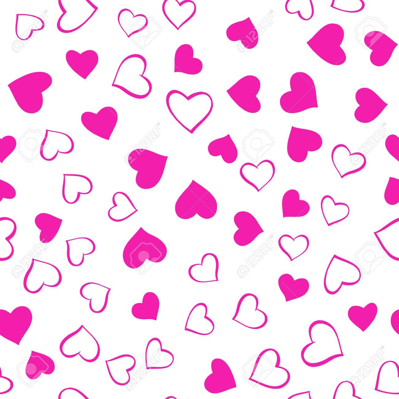 foto de archivo romntico rosa patrn transparente de vector con corazones rosas dibujados a mano sobre fondo blanco