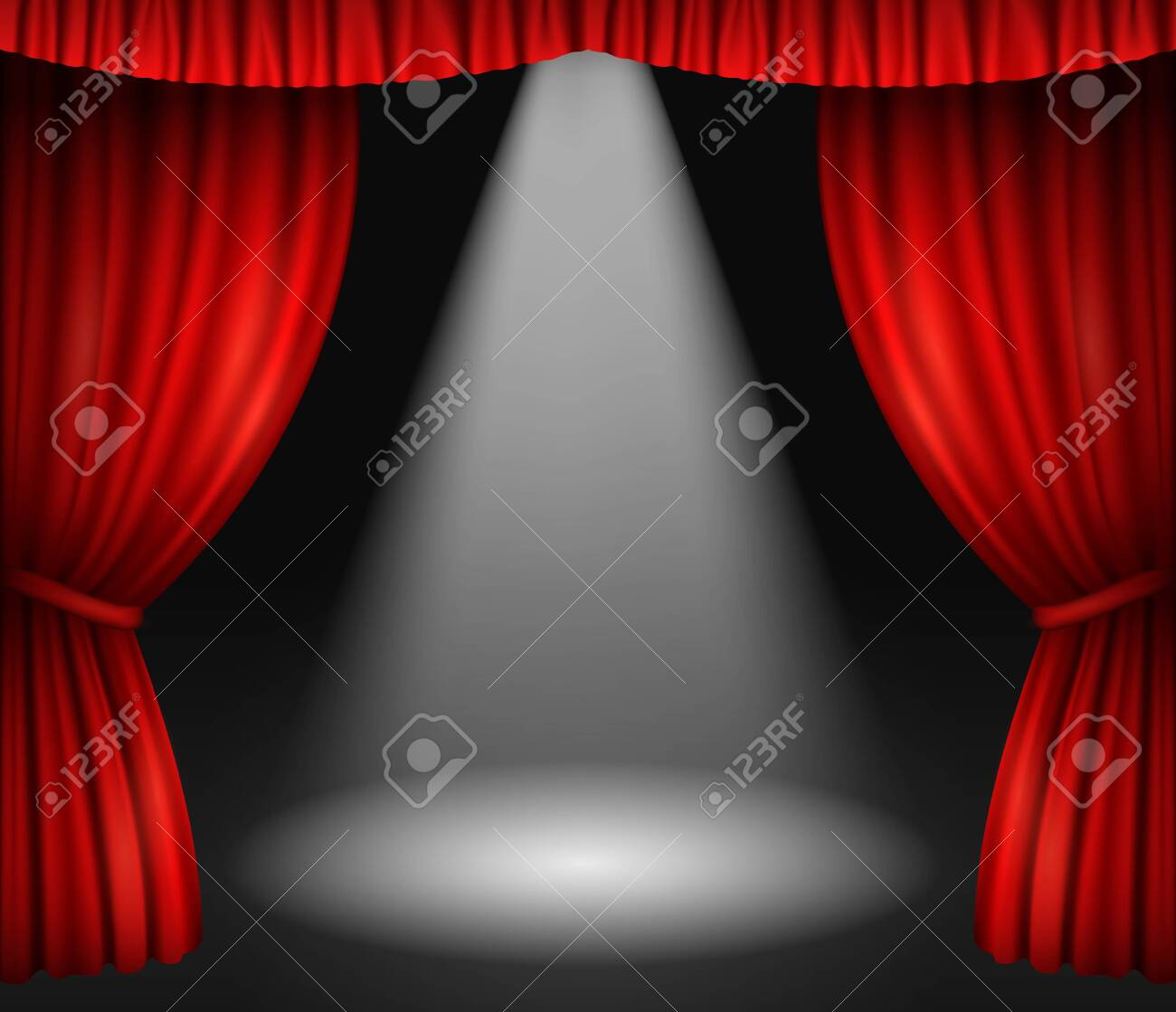Theater stage with red curtains and spotlight - 139938597