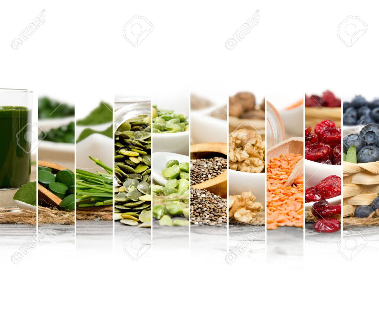 Photo of chlorella, berries and seeds abstract mix slices - 54652114