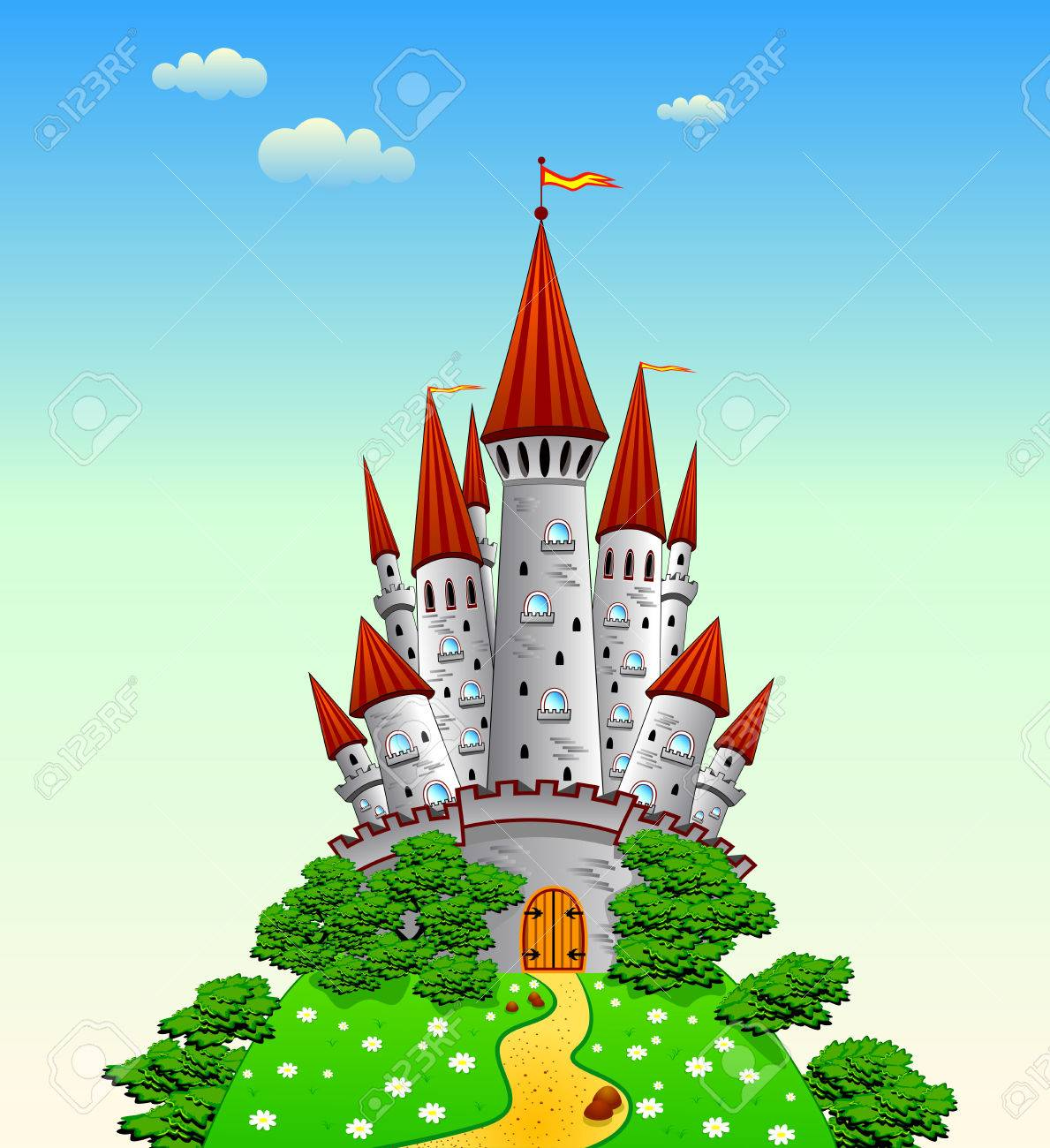 Cartoon Castle On The Hill Royalty Free Cliparts Vectors And Stock Illustration Image 44702617
