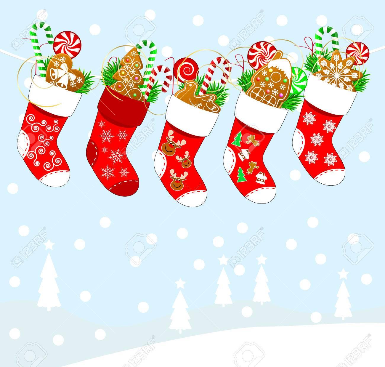 Weihnachten Socken Mit Süßigkeiten. Weihnachtssocken Für Geschenke ...