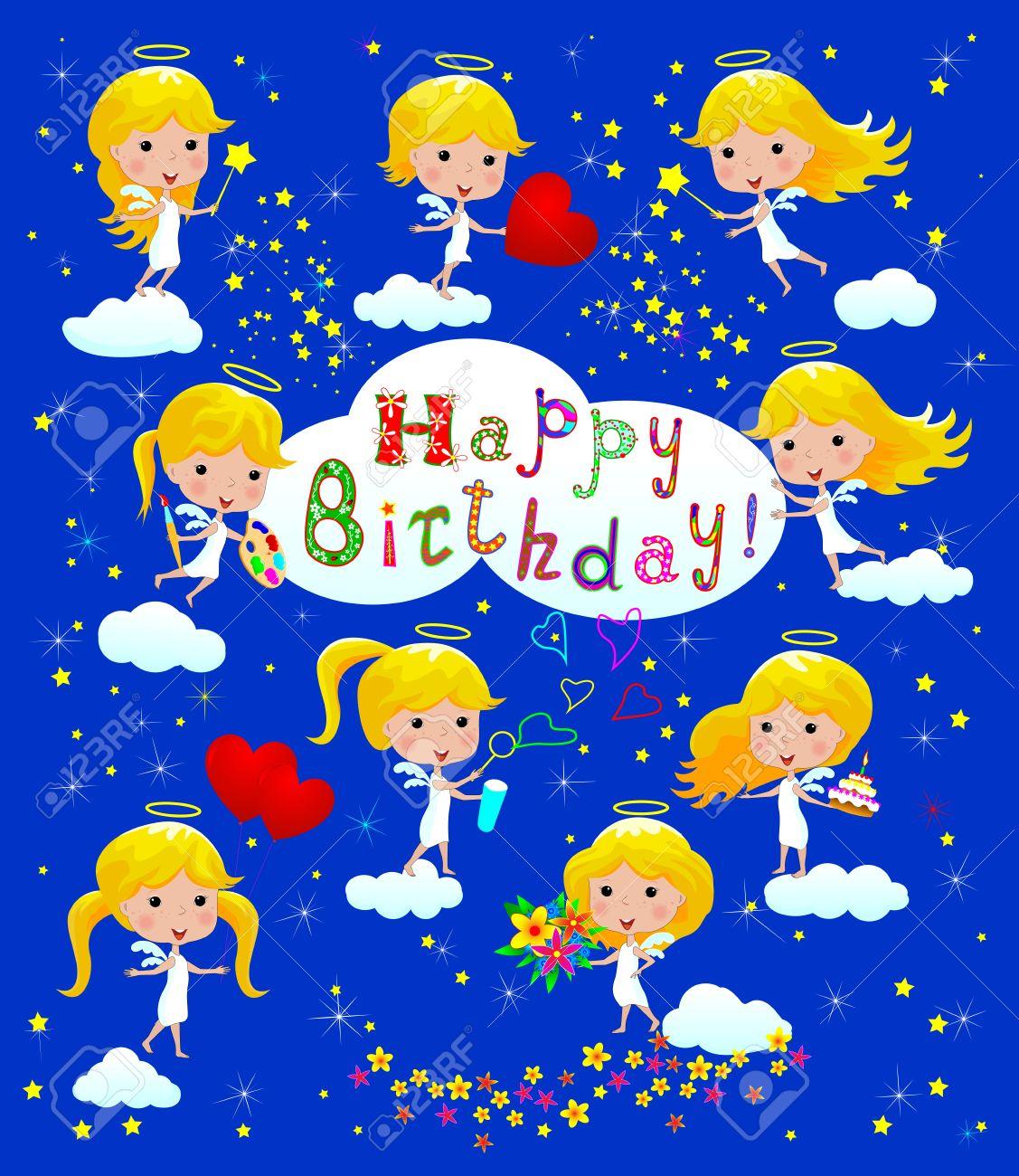 Tarjeta De Cumpleaños De Felicitación Con Los ángeles Dibujos