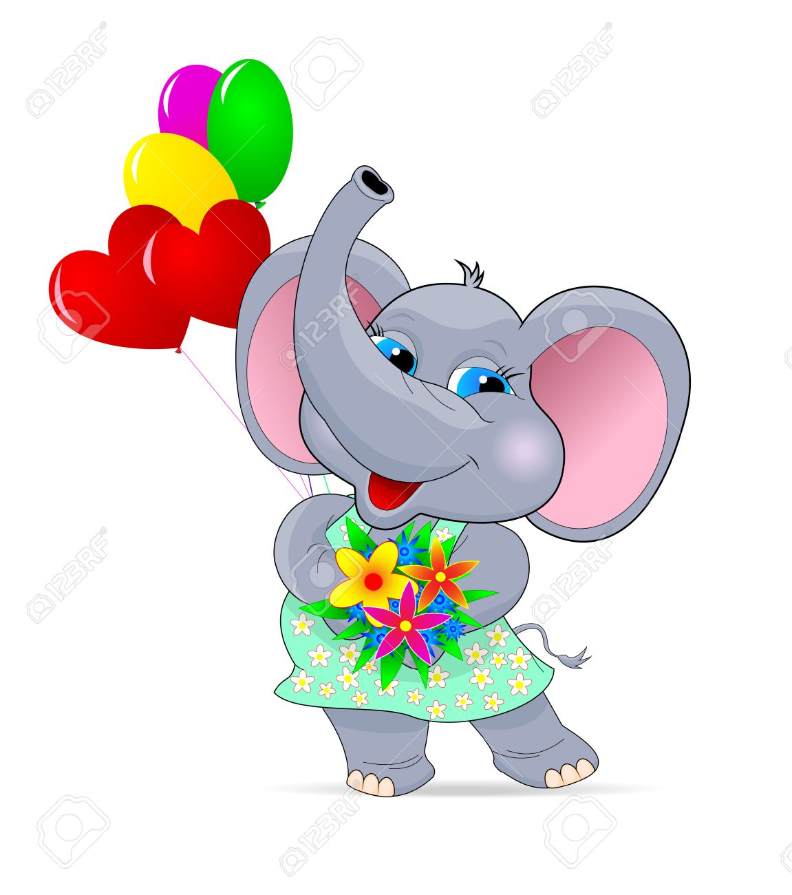Baby-Elefant Mit Blumen Und Luftballons. Grußkarte . Cartoon ...