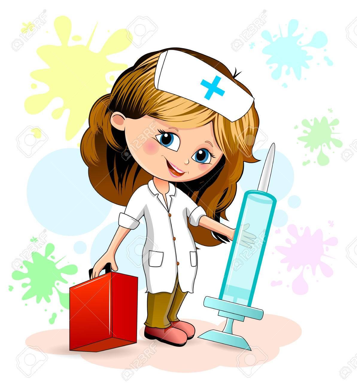 Niña De Dibujos Animados En Un Uniforme De Enfermera Una Enfermera Está Sosteniendo Una Jeringuilla Y La Maleta De Un Doctor