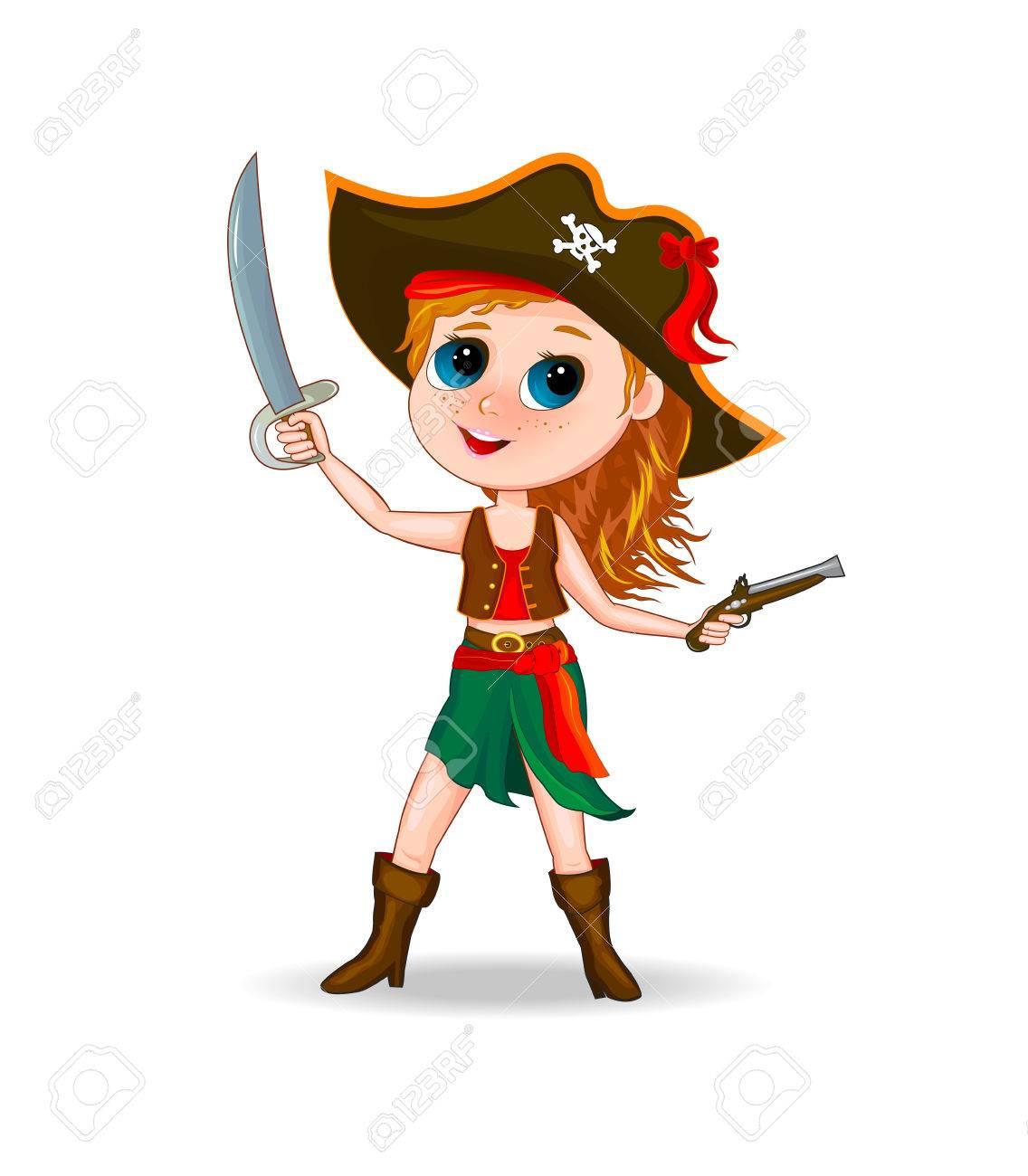 Petite Fille Dans Un Costume De Pirate Fille De Dessin Animé Vêtu D Un Costume De Pirate Avec Un Chapeau Sur La Tête Et L épée à La Main