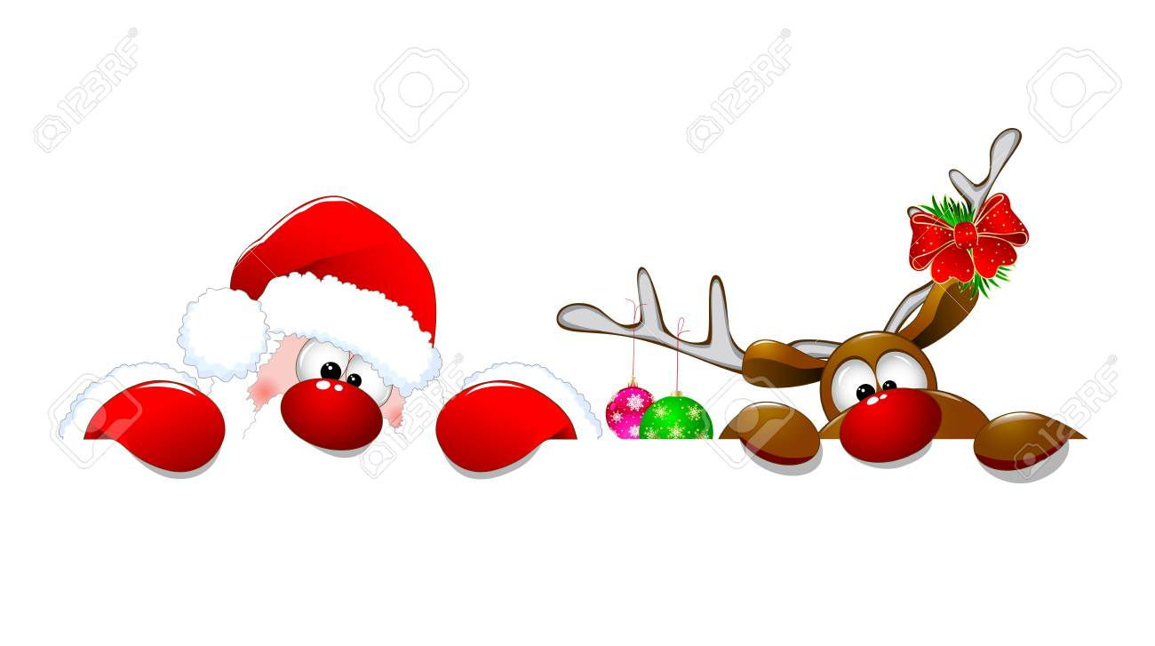 Santa Claus and a deer on a white background. Cartoons Santa Claus and deer Rudolph. - 89825727