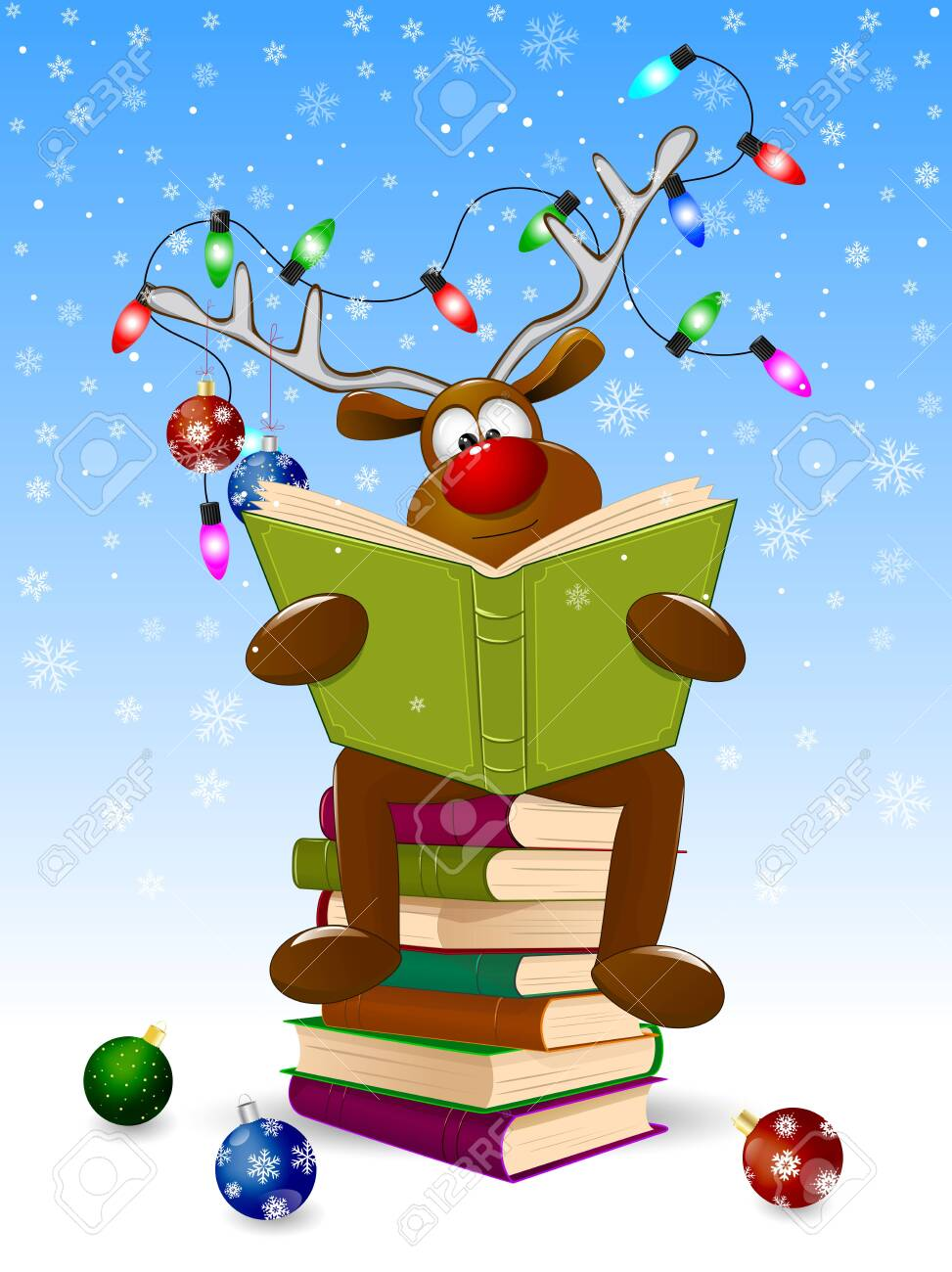 Cartoon deer reads a book for Christmas. A deer with a book and with Christmas decorations on a winter background. A deer is sitting on a stack of books. - 131902808