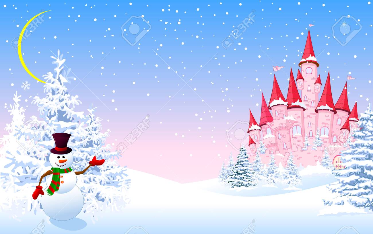 Cartoon pink castle and a snowman on a background of a winter snowy forest. Winter landscape with a pink castle. - 135647754