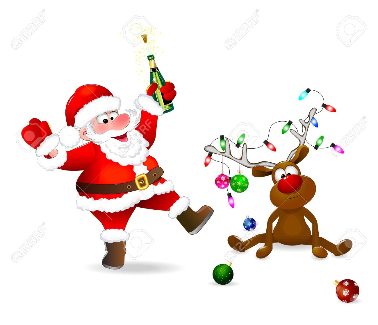Santa Claus with a bottle in his hand. The deer is decorated with Christmas balls and a garland of lights. Santa and deer on a white background. - 135647769