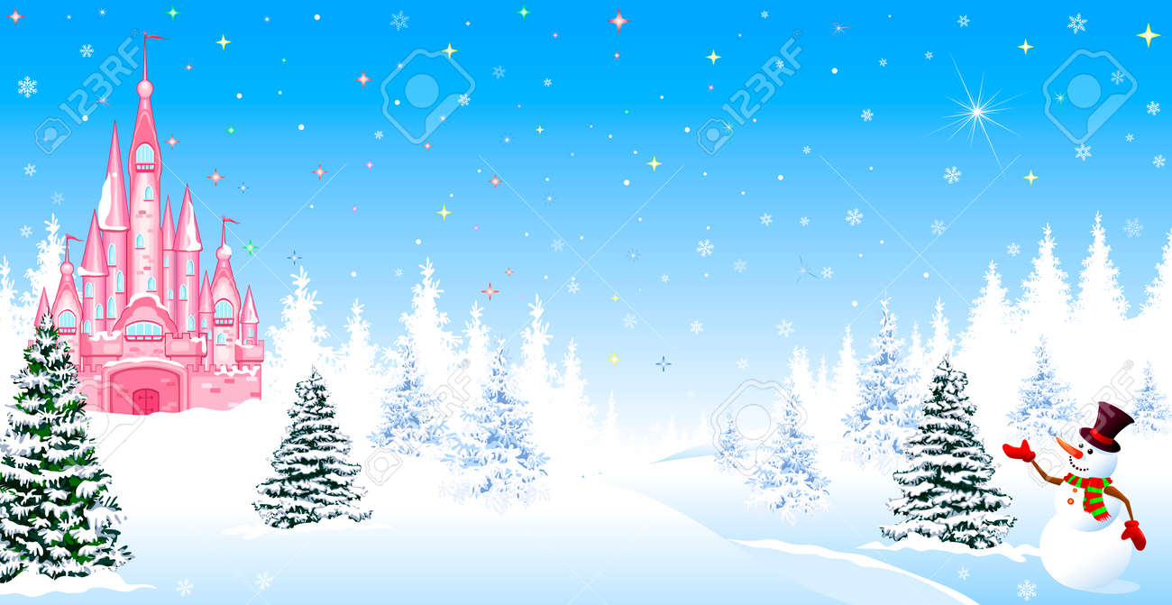 Pink castle. Winter landscape. The night before Christmas. Trees, snow, forest. Shining stars and snowflakes in the night sky. Christmas winter night scene. The snowman welcomes. - 155207244