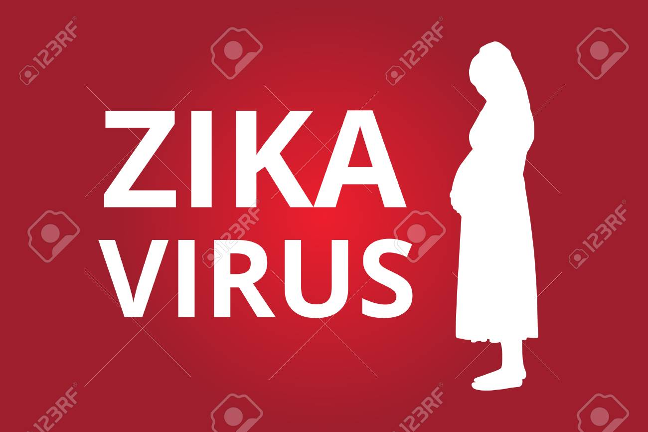 Zika Virus text with pregnant women vector illustration