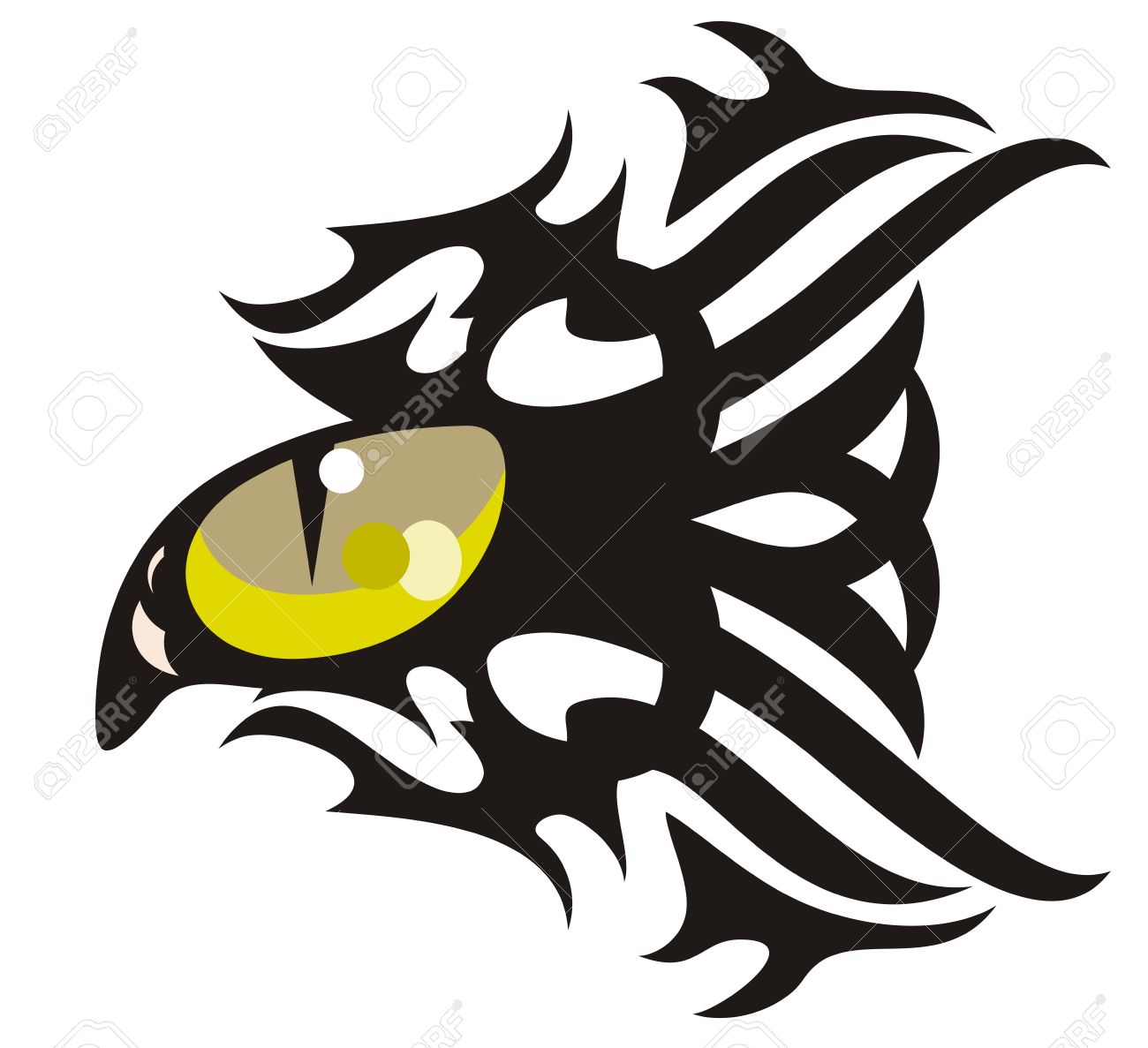Tribal Cat Eye Tattoo In The Form Of Fish Royalty Free Cliparts