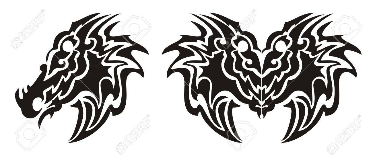 Tribal dragon head symbol and dragon butterfly tattoo