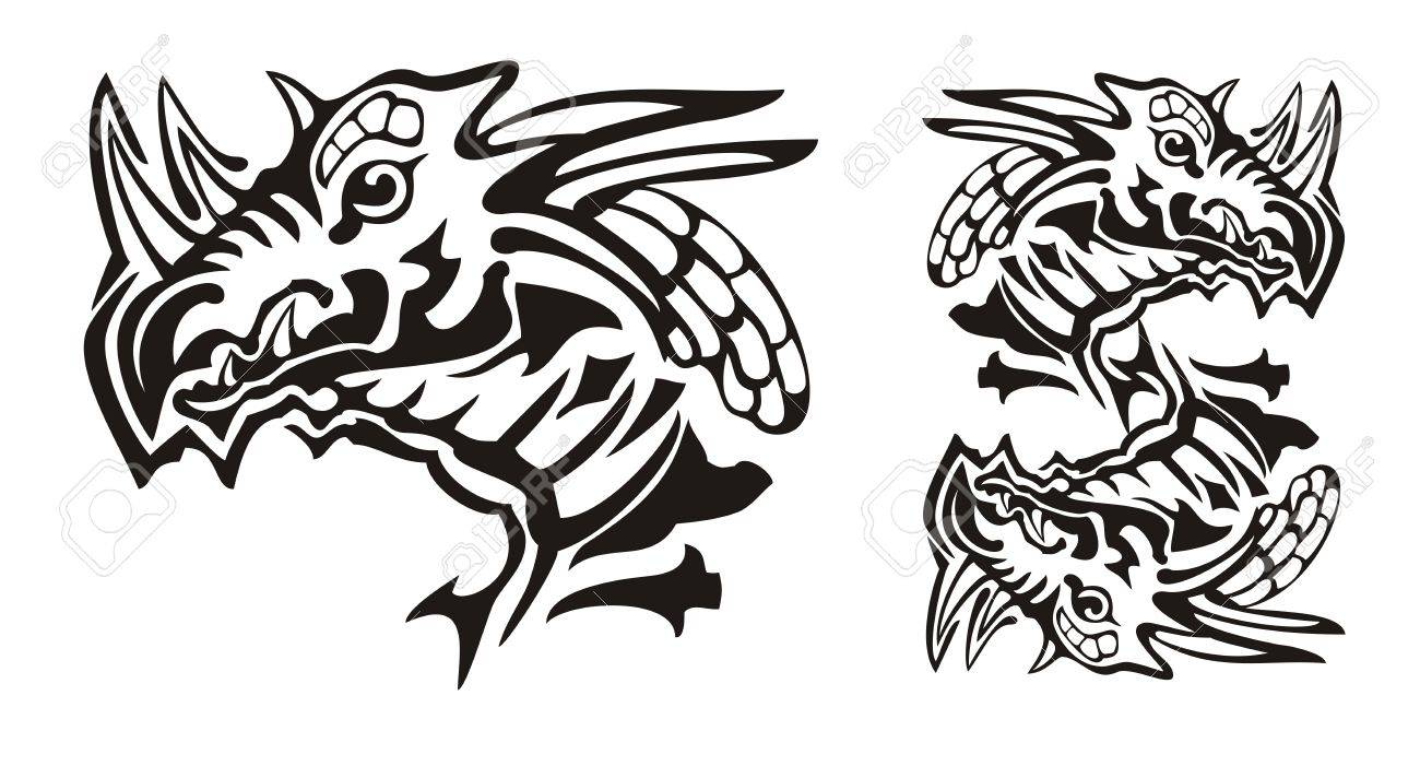 Tribal horned dragon head and dragon symbol in the dollar form tribal horned dragon head and dragon symbol in the dollar form stare of the dragon biocorpaavc Image collections