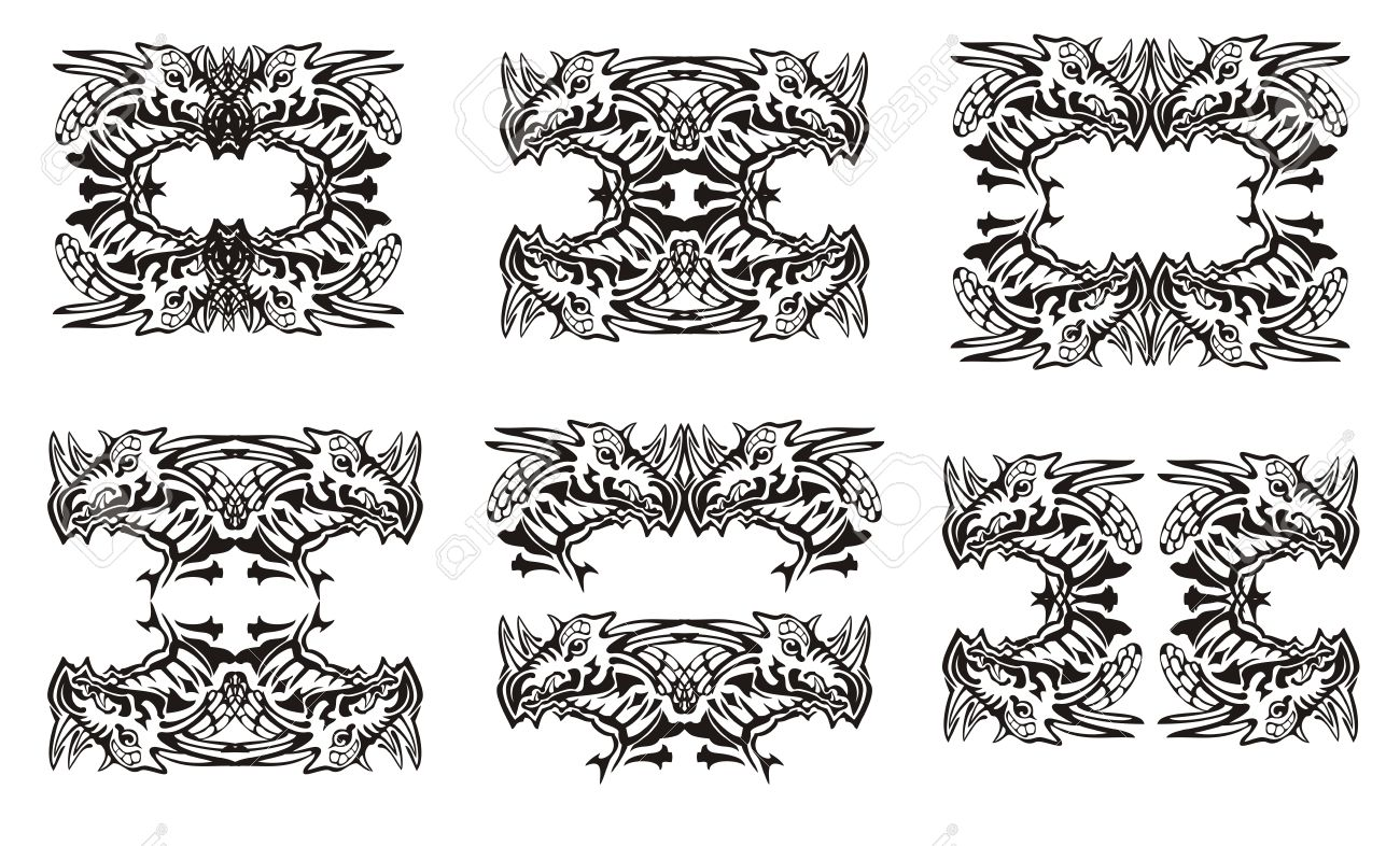Tribal dragon symbols black on the white the roundish symbols tribal dragon symbols black on the white the roundish symbols of the dragon head biocorpaavc Image collections