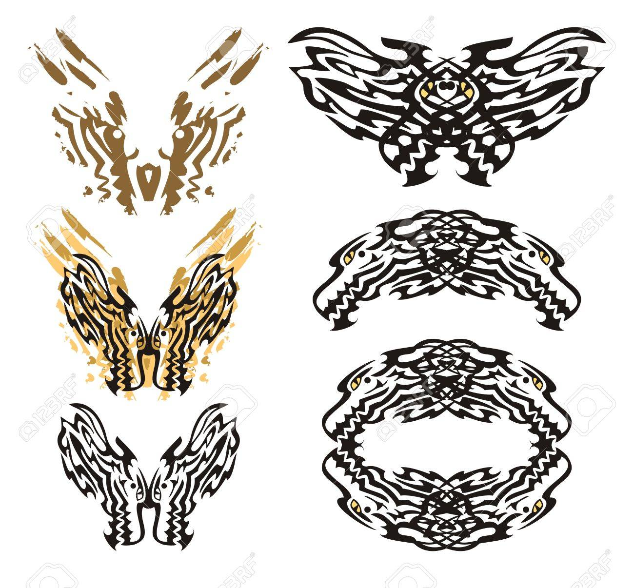Tribal Flaming Dragon Butterfly And Roundish Dragon Frame. Royalty ...