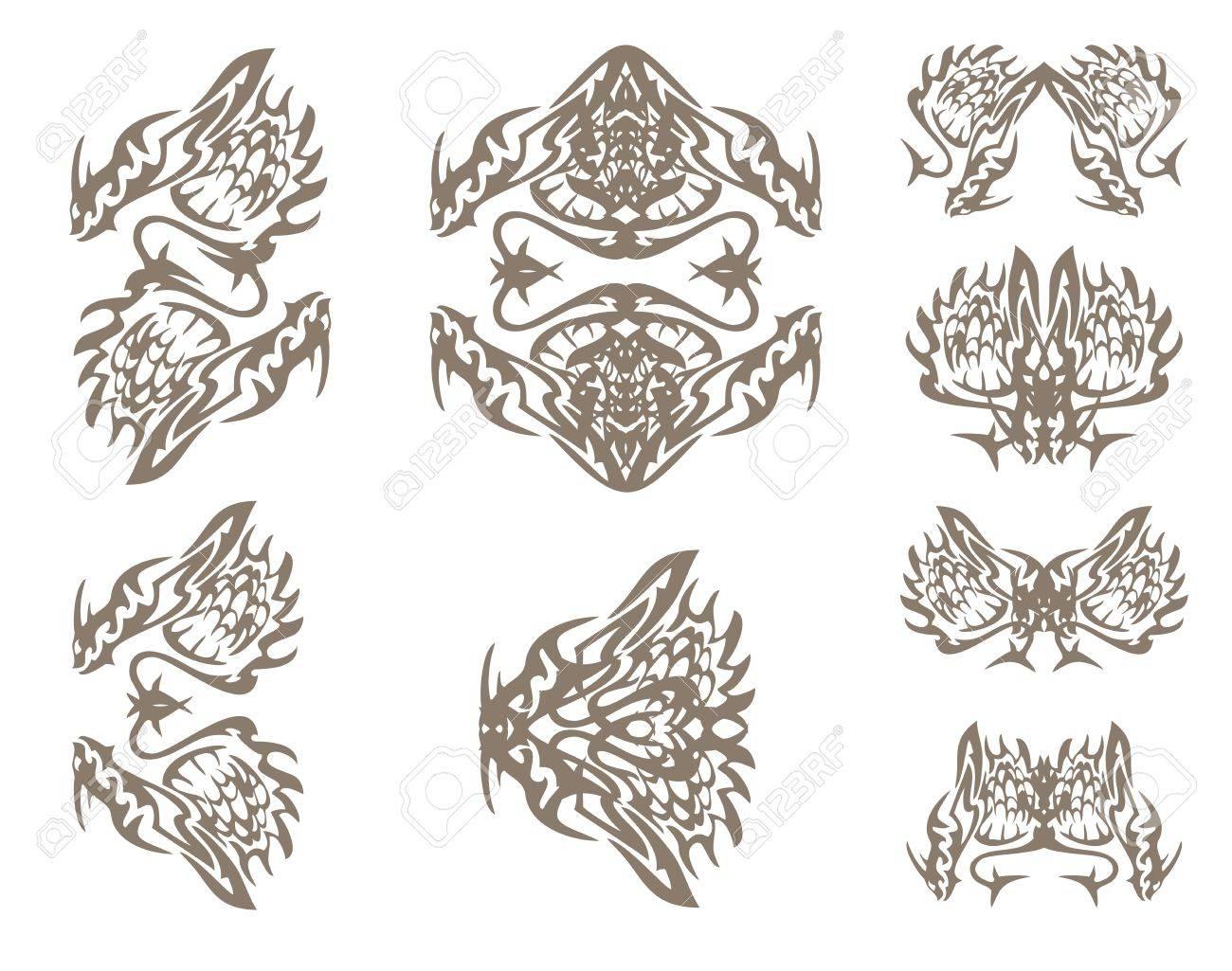 Dragons symbols in tribal style the decorative symbols of a dragons symbols in tribal style the decorative symbols of a dragon inspiring fear dragon buycottarizona Gallery