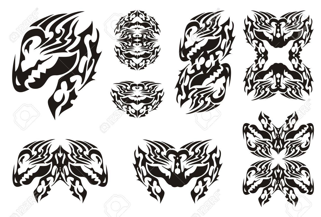 Horned dragon set in tribal style symbols of the dragon head horned dragon set in tribal style symbols of the dragon head and dragon frames isolated buycottarizona Gallery