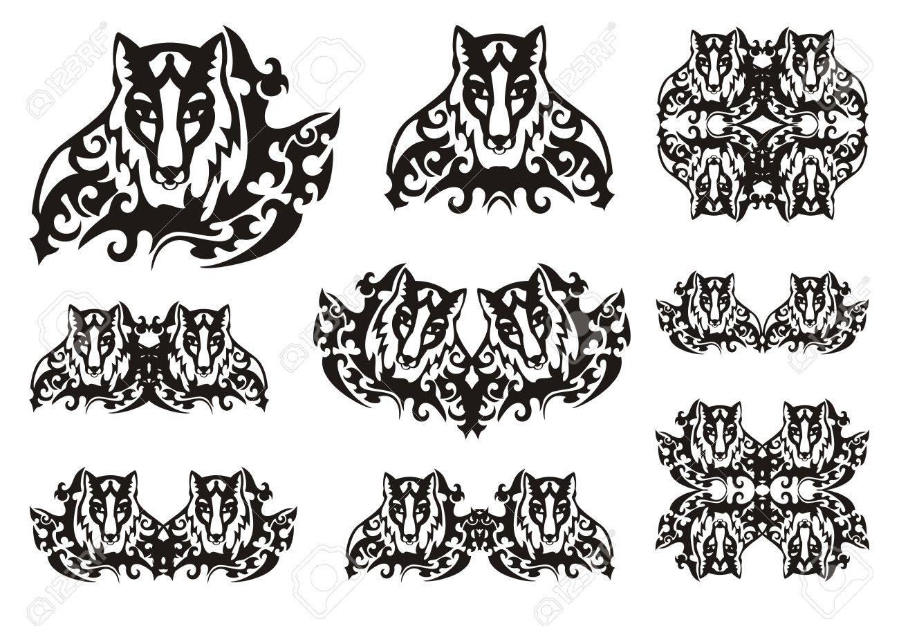 Tribal Fox Symbols Symbols Of The Fox Head In Thickets Royalty Free