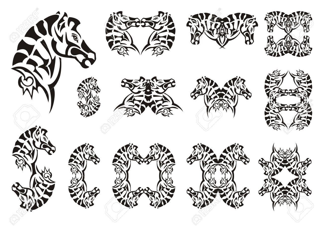 Banque d\u0027images , Tribaux symboles de tête de zèbre. Ensemble de tête  vecteur zèbre sur un fond blanc. Tatouage, symbole, cadre de zèbre ou un  élément