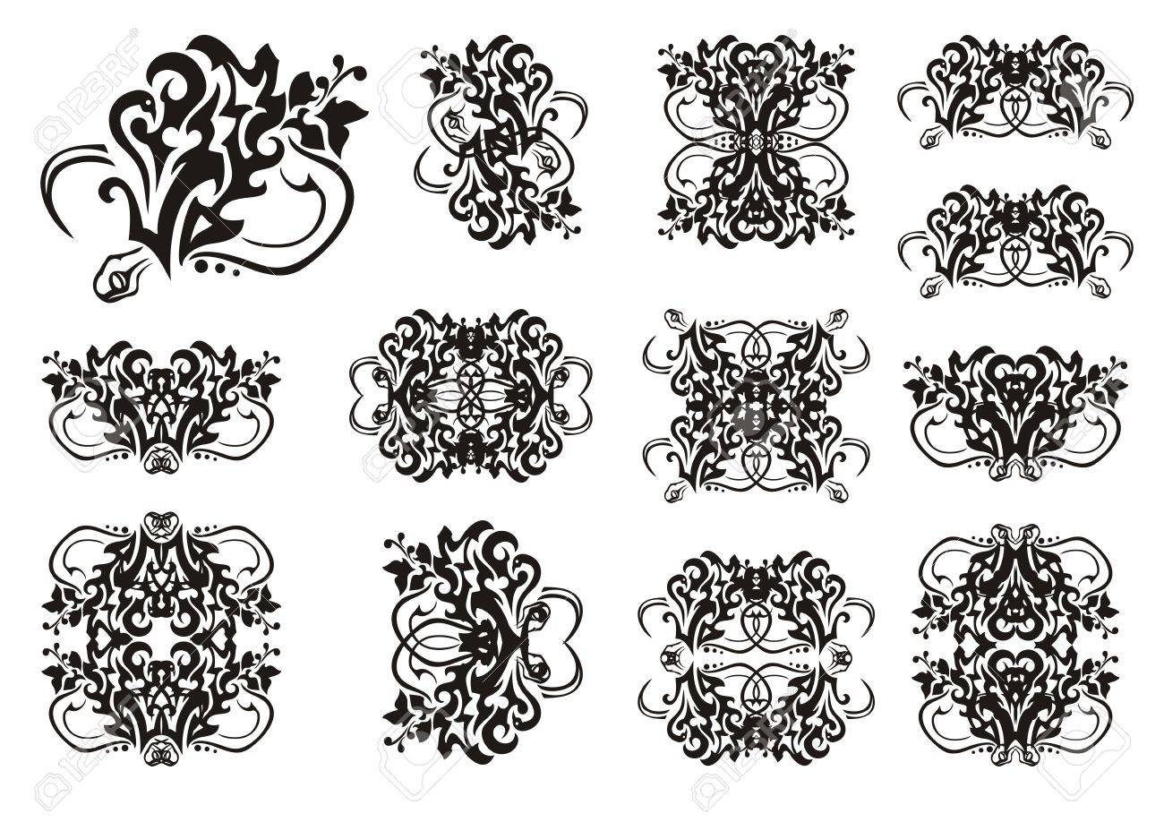 decorative snake symbols in tribal style set of snake symbols
