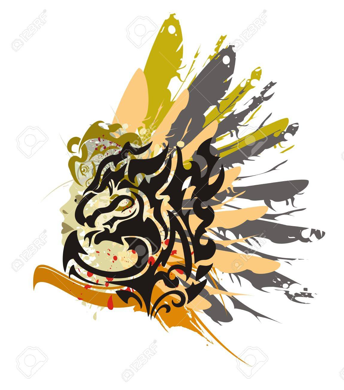 615cda4fa Grunge black dragon symbol - splashes in a woman's face with the head and a  wing