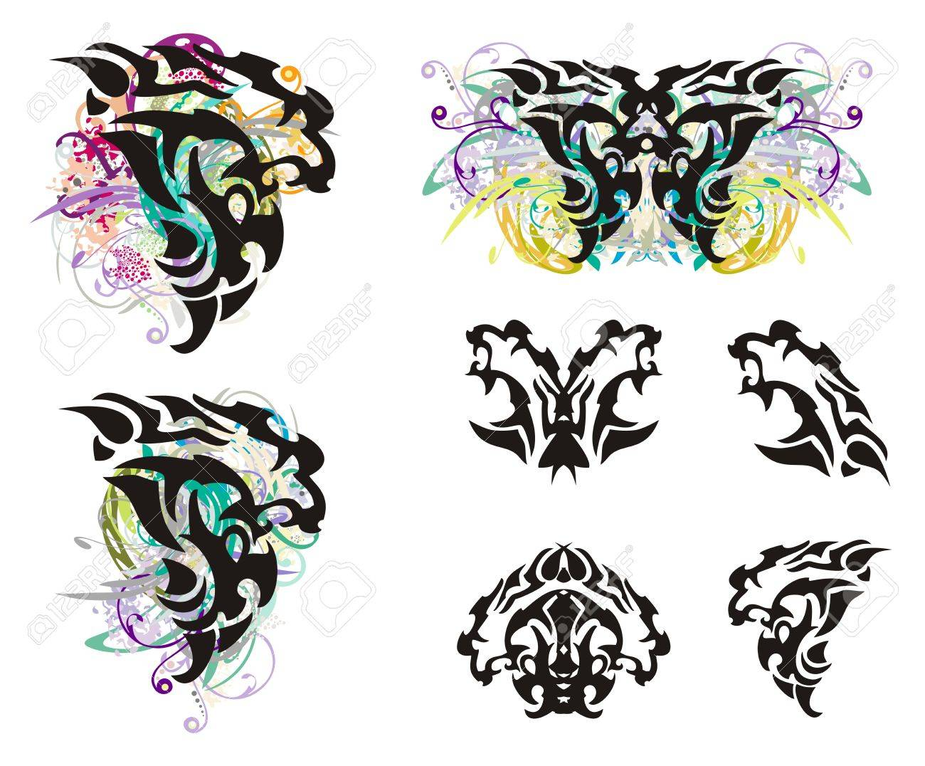 grunge lion head and lion head symbols tribal head of a furious